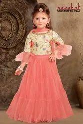 Wedding Wear Silk,Net Kids Printed Lehenga Choli