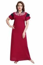 Embroidery Pink Ladies Floor Length Plain Nightgown
