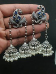 Pearl Alloy Jhumka Earrings