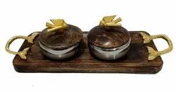 Wooden Rectangle Tray with 2 Steel Bowl Set, For Home, Hotel and Restaurant, Size: 17*6*4 Inches