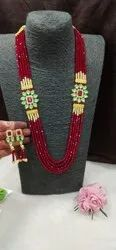 Red Bead Design Double Pendant Kundan And Pearl Necklace Set