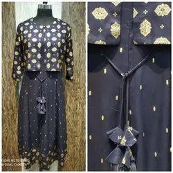 Casual Wear Regular Ladies Designer Navy Blue Kurti, Size: Medium, Wash Care: Handwash
