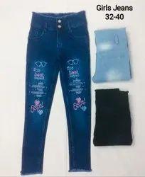Party Wear Stretchable Girls Denim Printed Jeans, Size: 32-40, Machine wash