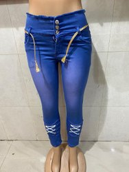 Slim High Rise Ladies Stretchable Jeans