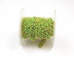 Green Chalcedony  Beads Brass Handmade Rosary Chain