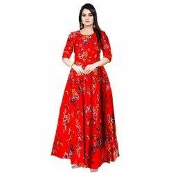 Printed Red Ladies Anarkali Gown