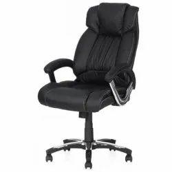Rexine Mild Steel Revolving Boss Chair, Black