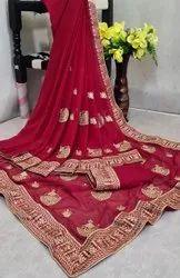 Leranath Fashion 5 Color Heavy Georgette Embroidery Design Saree, With Blouse Piece, 5.5 m (separate blouse piece)