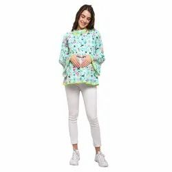 Designer cotton Fabric Maternity Top With Racel Lace