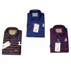 Checked Collar Neck Mens Fancy Stripe Shirt, Size: M - XXL