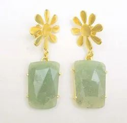 Green Chalcedony Gold Plated Charms Earning