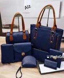 Ladies Navy Blue Handbag Set