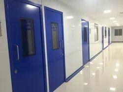Blue And White Swing Hospital Ot Doors