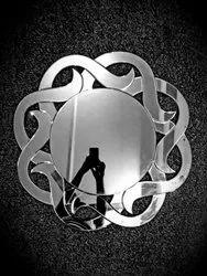 Glass Fancy Wall Mirror, Mirror Shape: Round