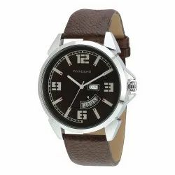 Men Round Day And Date Silver Black Dial And Dark Brown Strap Mens Watch, For Daily