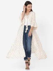 Cotton Kiran-210KR Designer White Color Flared Long Shrug