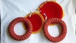 Velvet Fabric Red Tabla Ring Pads