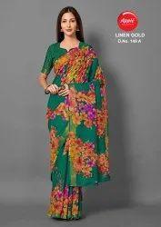 Floral Print Linen Saree