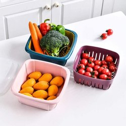 Plastic Square 2 In 1 Multi Function Filter Bowl Set, For Home, Size: 8.7 Inch X 3.1 Inch