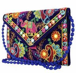 Canvas Embroidered Designer Embroidery Envelop Hand Bag