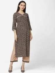 Cotton V Neck SHY-2004KS Readymade Casual Brown and Beige Color Printed Kurta Set