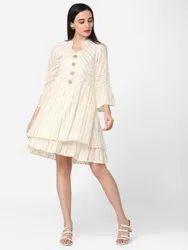 Cotton Kiran-260KR Designer Off White Color Flared Dress