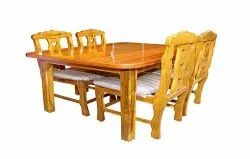 normal Brown 4 Seater Wooden Dining Table Set, For Hotel, Size: 5*3