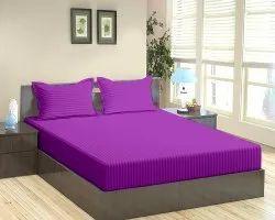 Purple Satin Stripe Dyed Double Bed Sheet