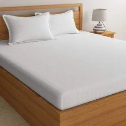 Off White Satin Stripe Dyed Double Bed Sheet