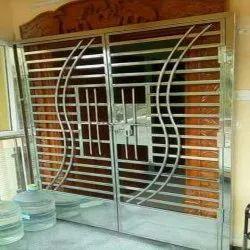 Silver Powder Coated Iron Main Doors, Double Door, Thickness: 12mm
