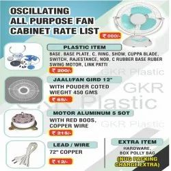 White, Blue Plastic 12 Inches Oscillating Table Fan Spare Parts
