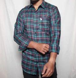 Blue,Green Mens Cotton Casual Check Shirt