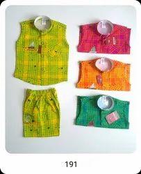 Cotton 191 Kids Sleeveless Shirt and Shorts Set, Size: 16-26