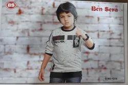 Ben Sera Knitted Cotton Kids Full Sleeve Printed T Shirt, Size: 4-16 Year