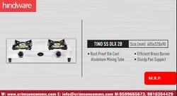 Silver Two Burner Gas Stove, Size: Dimension: 32 Cm X 60.5 Cm, Model Name/Number: Hindware Tino Ss Dlx 2b
