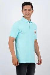 Blue Plain Mens T Shirts