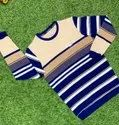 Full Sleeves Blue And Brown Men Casual Wear Round Neck T Shirt