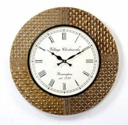 Analog Round Wooden And Brass Fitted Wall Clock, Size: 18x2x18 Inch