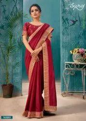 Red Color Designer Vichitra Silk Saree