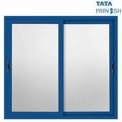 Powder Coating Alumimium Tata Pravesh Blue Canvas Sliding Aluminium Window