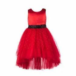 Plain Net TBKF2001RD - Kids Girls Red High low Party Wear Dress, Size: 2-12 Years