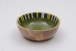 Printed Round Wooden Bowl, For Restaurants, Size: Small