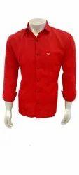 Men Red Cotton Shirt