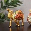 Metals Gold Pleated Camel Meenakari Animal Table Decore