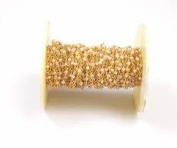 Pink chalcedony  Beads Brass Handmade Rosary Chain