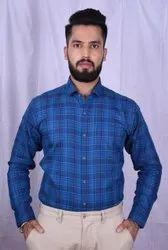 Cotton Collar Neck Men Blue Check Shirt, Size: M,Xxl