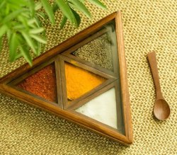 Brown Handcrafted Spice Wooden Box