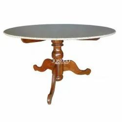 Joseco Standard Wood,Marble Round Marble Top Wooden Dining Table, Size: 30 X 38 Inch