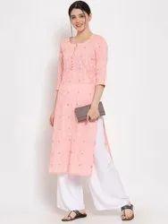 Women Printed Straight Cotton Kurta (Pink)