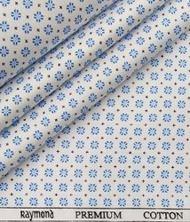 Raymond Cotton Shirt Fabric, Digital Prints, White